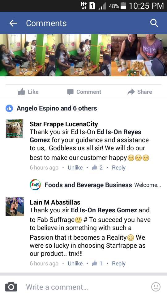 Star Frappe Testimonial
