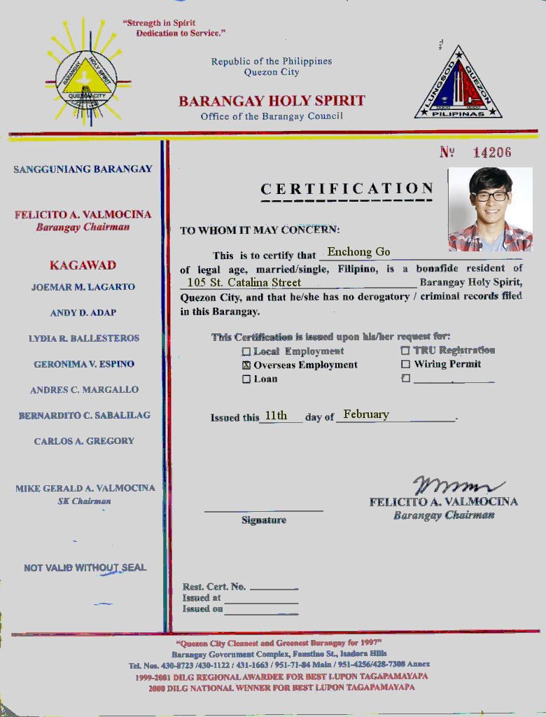 How to apply for barangay clearance in the philippines ifranchise 1betcityfo Gallery