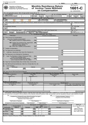 BIR Form 1601-C - Monthly Remittance Return of Income Taxes Withheld on Compensation