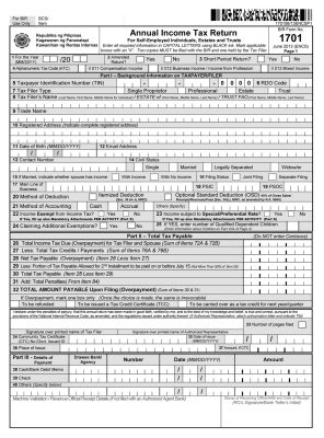 BIR Form 1701 - Annual Income Tax Return
